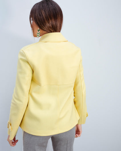 HWL Pressed wool cropped trench in pastel yellow