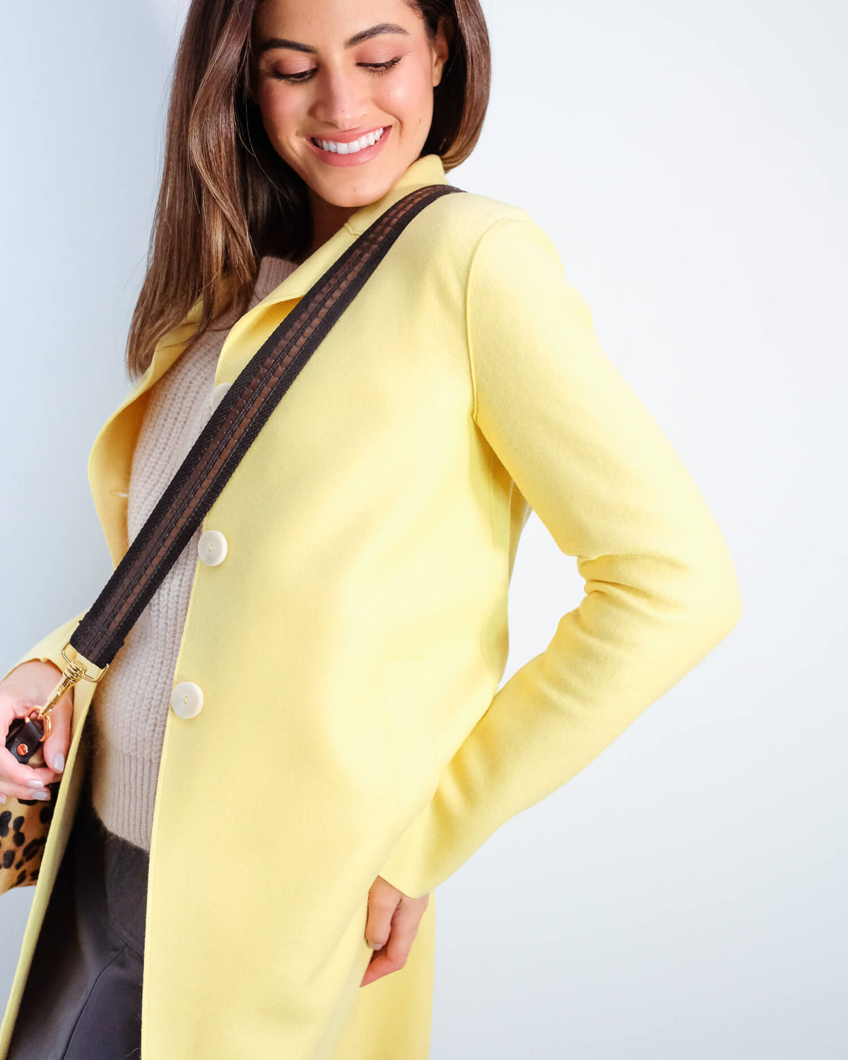 HWL Pressed wool boxy coat in pastel yellow