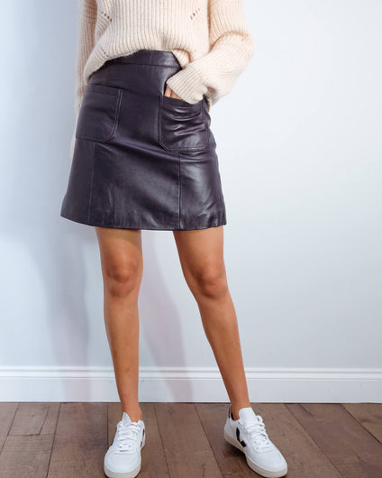 SLF Sofia short leather skirt in night sky
