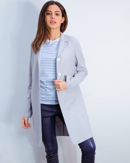 HWL Pressed wool boxy coat in grey blue