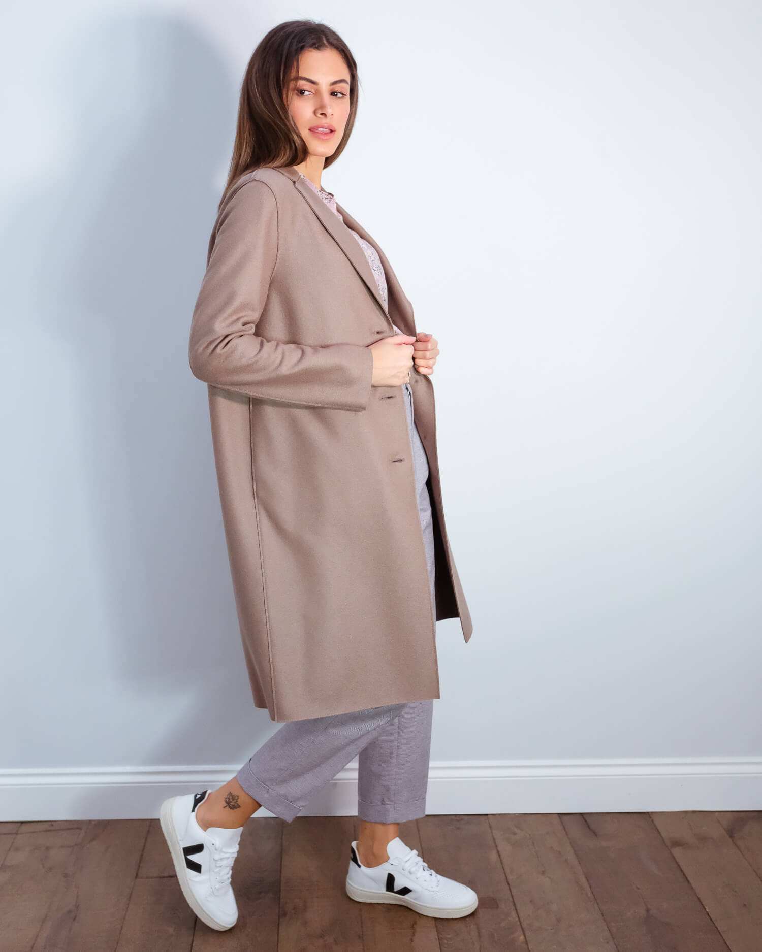 HWL Pressed wool overcoat in taupe
