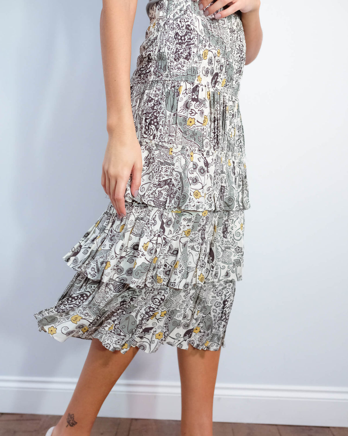 IM Cencia printed skirt in ecru