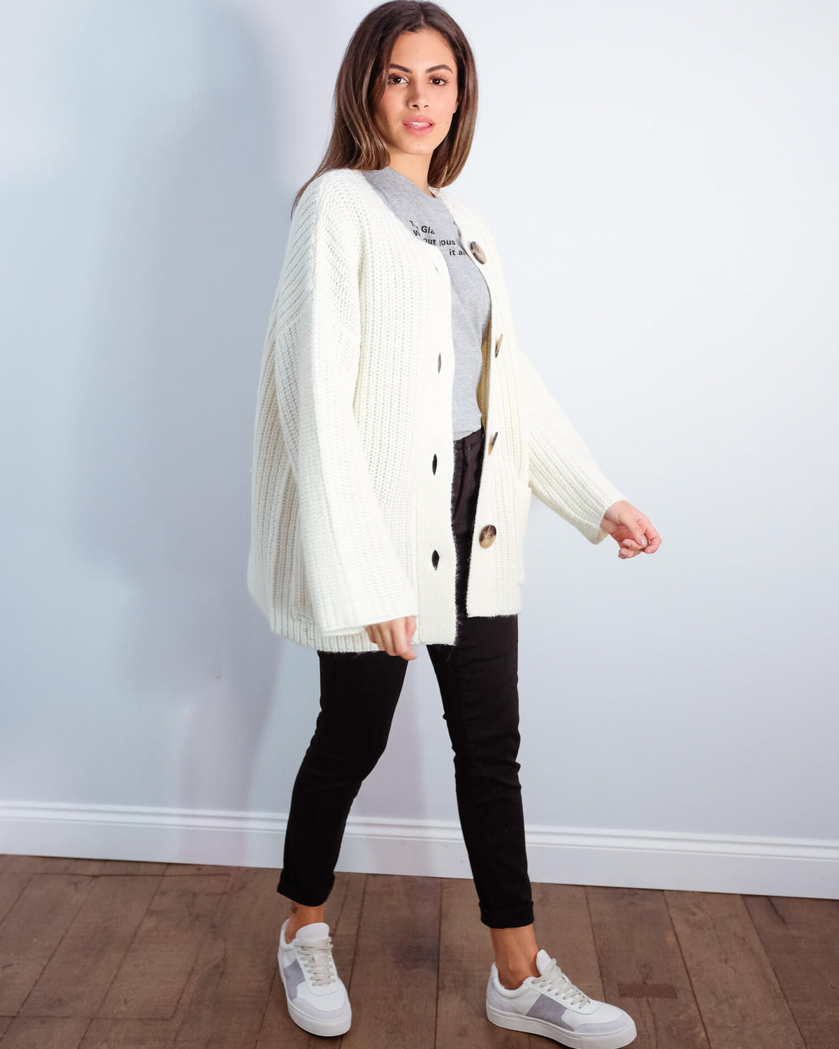 SLF Millie knit cardi in snow white