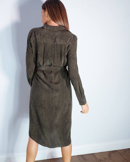 R Alix dress in green python