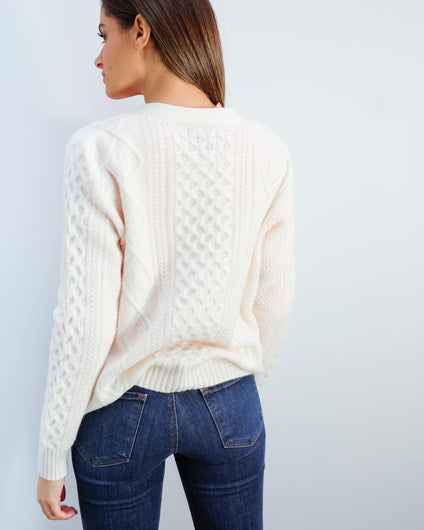 JU Aran cardigan in organic white