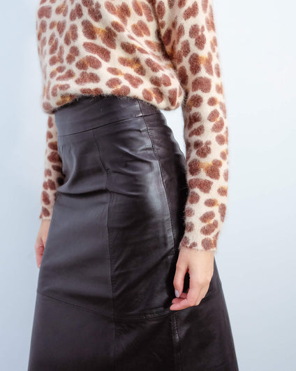 SLF Ardee leather skirt in black