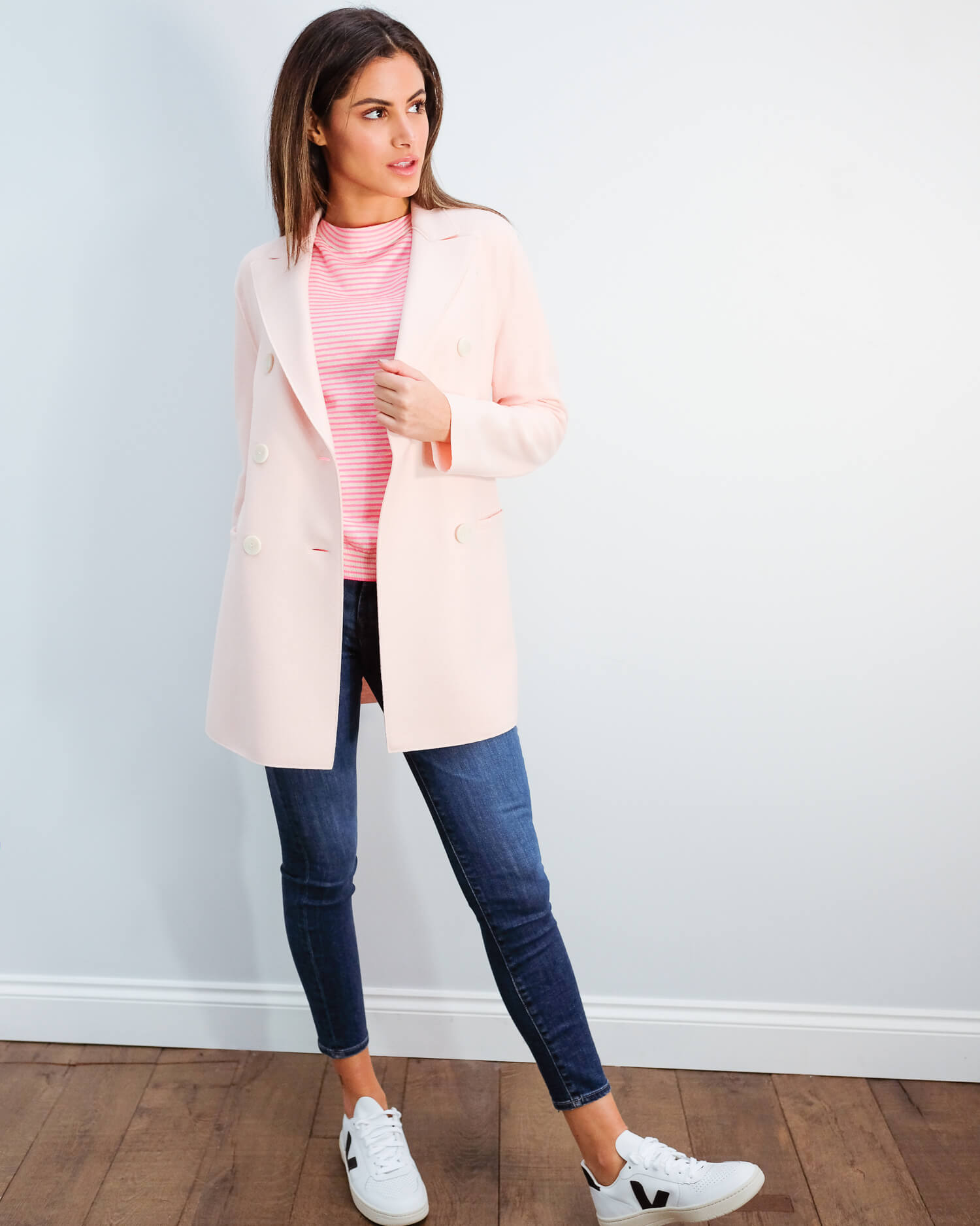 HWL Pressed wool blazer in pastel pink