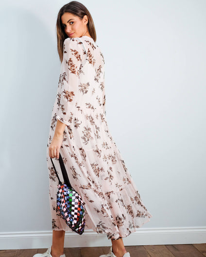 BUP Aia printed dress in peach brown rose