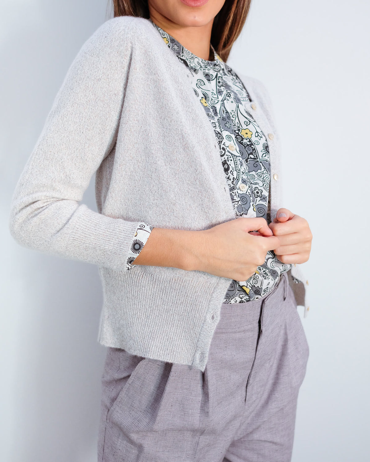 JU Lurex cardigan in cream