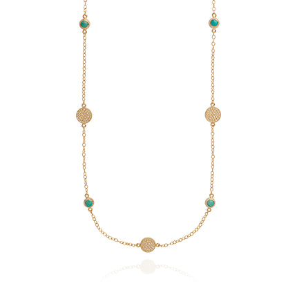 AB NK10085 Long multi disc necklace in gold, turquoise