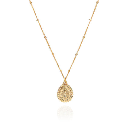 AB 10089 Mosaic scallop teardrop necklace in gold