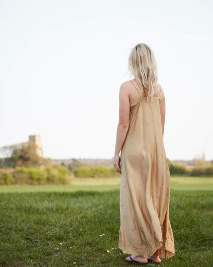 OS Antoinette slip dress in gold