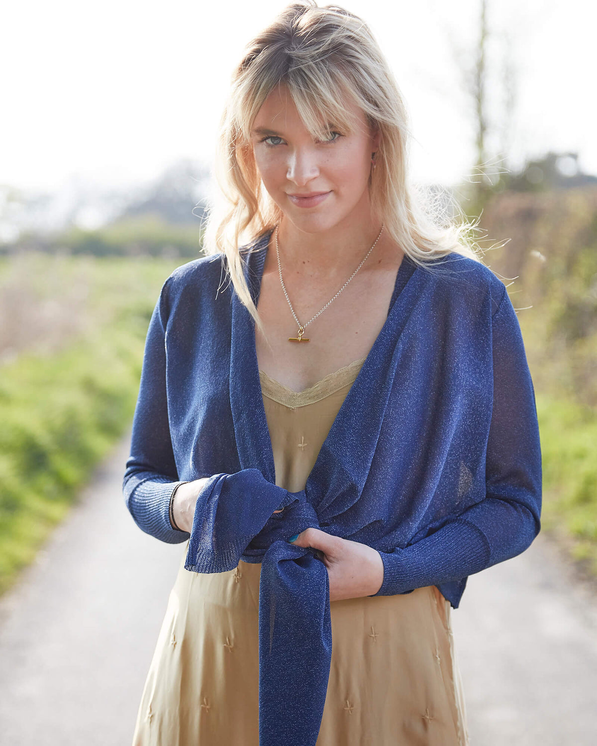 OS Daisy wrap cardigan in blue