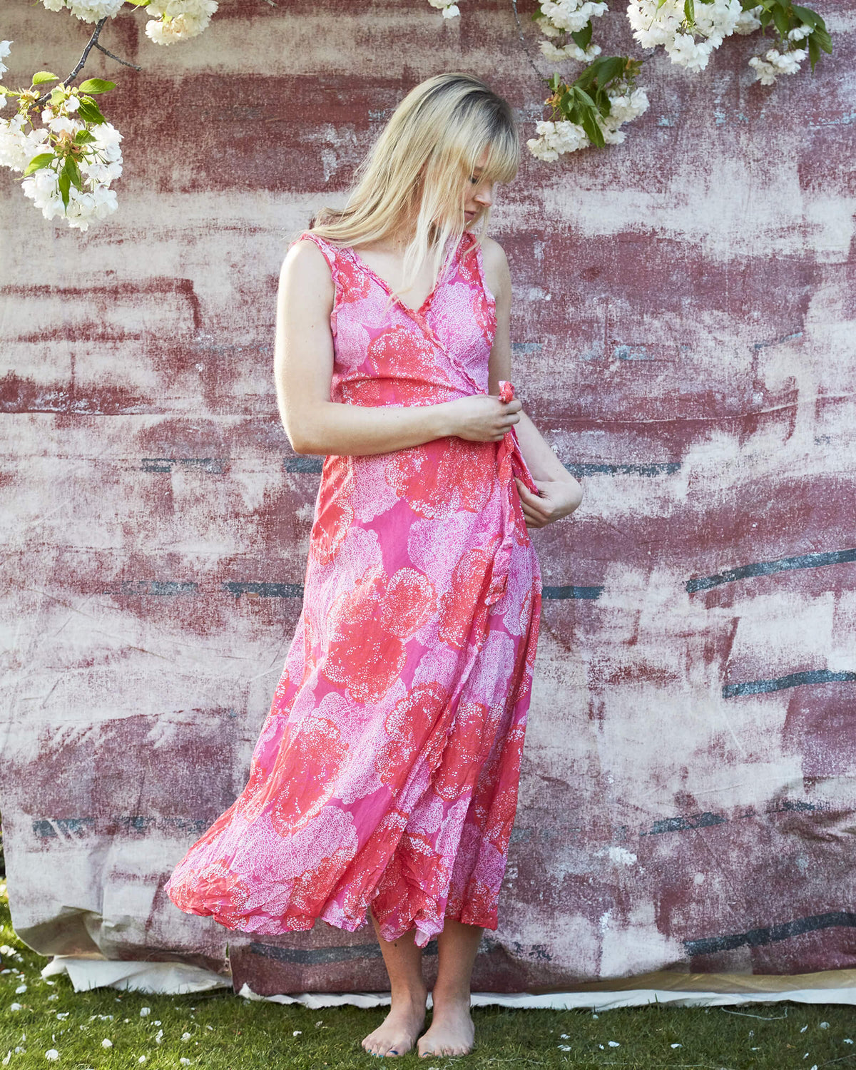 OS Sunshine wrap dress in ibiza coral