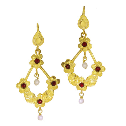 OTTOMAN BLS earrings with red agate and white stones