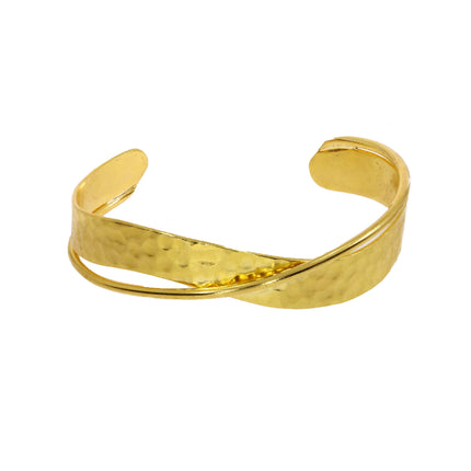 OTTOMAN Hammered gold double bangle