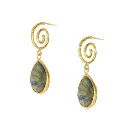OTTOMAN  SI08 Spiral with labradorite drop earrings