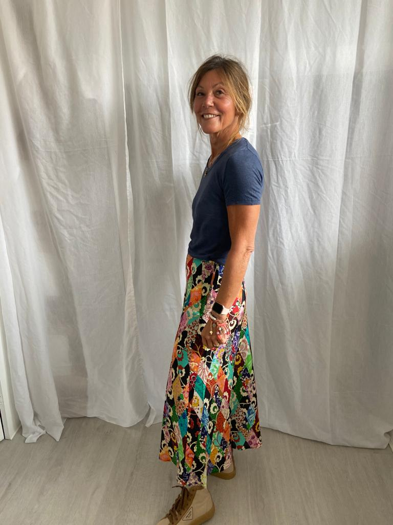 RIXO Kelly skirt in patchwork