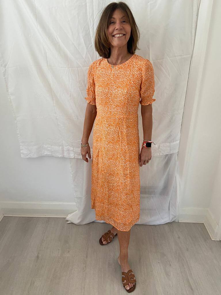 PP Betty dress in orange leopard