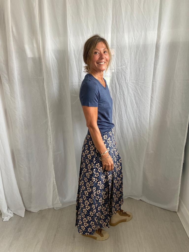 RIXO Georgia skirt in wallpaper floral