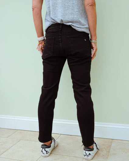 R&B Dre low rise slim boyfriend in black
