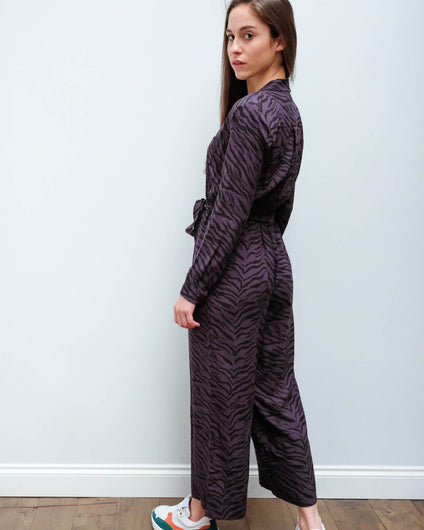 R Callan jumpsuit in charcoal tiger stripe