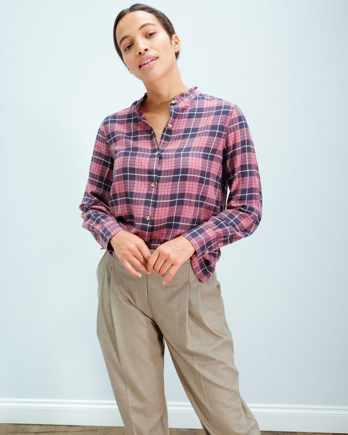 RAILS Andie checked shirt in rose indigo