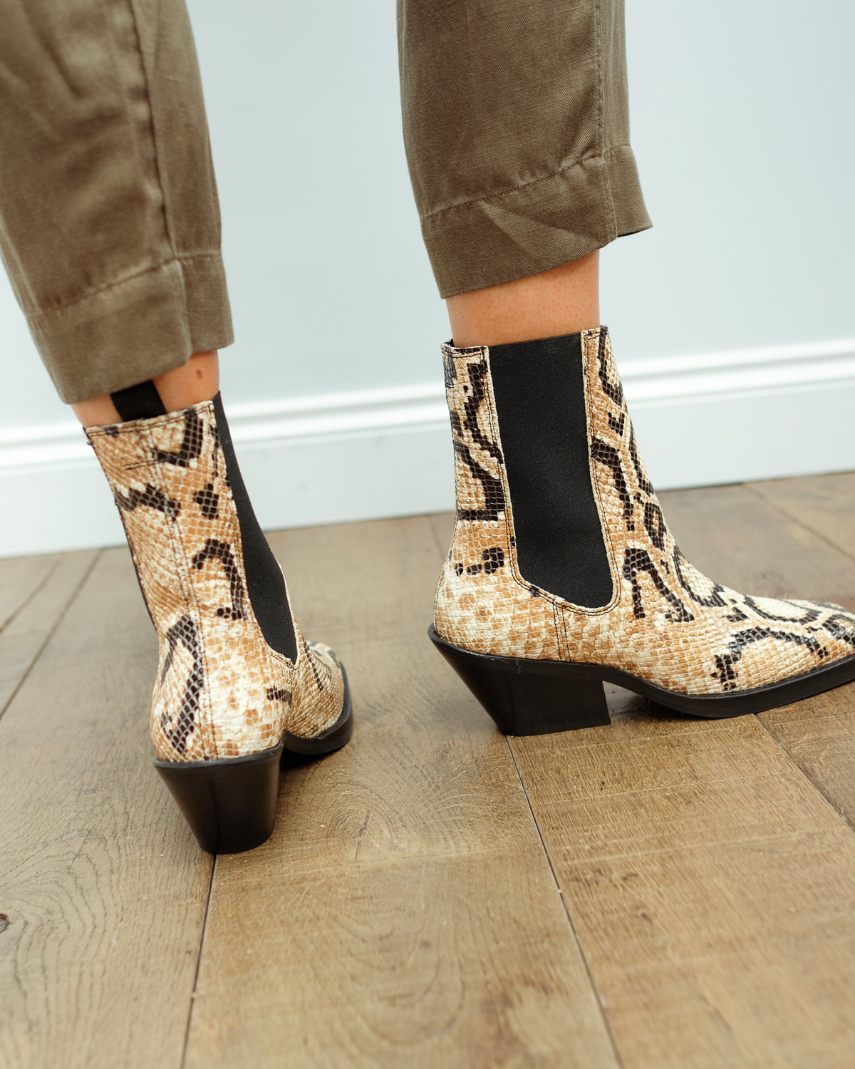 SLF Ava Snake Leather Chelsea Boot
