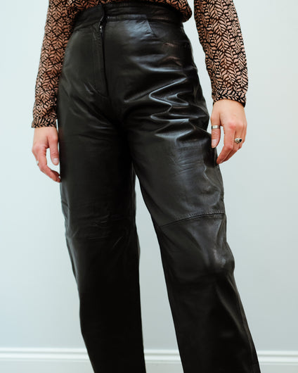 SLF Agnes Cropped Leather Pants in Black