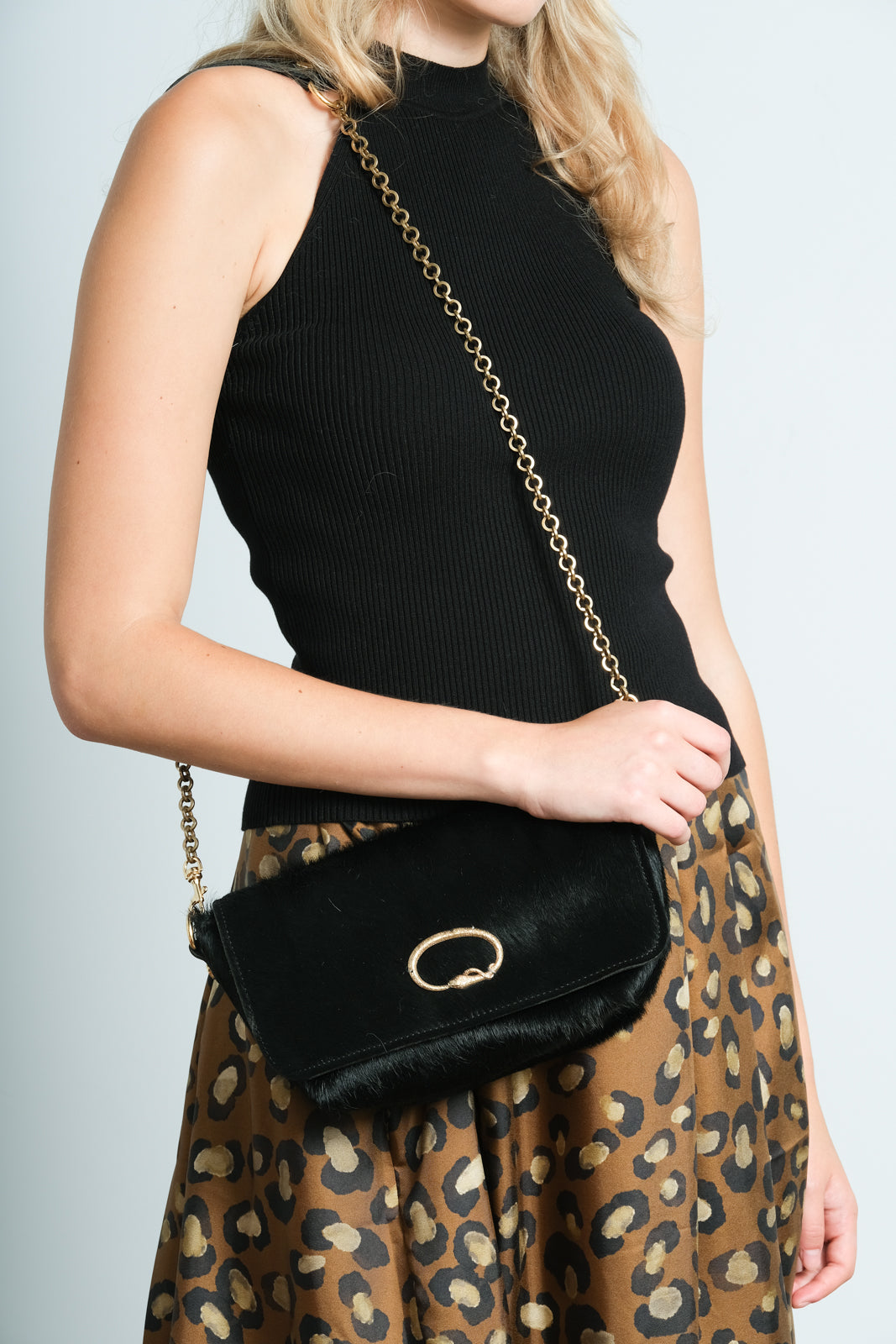 SLP Mai Tai bag in black with cobra motif,  gold detachable chain