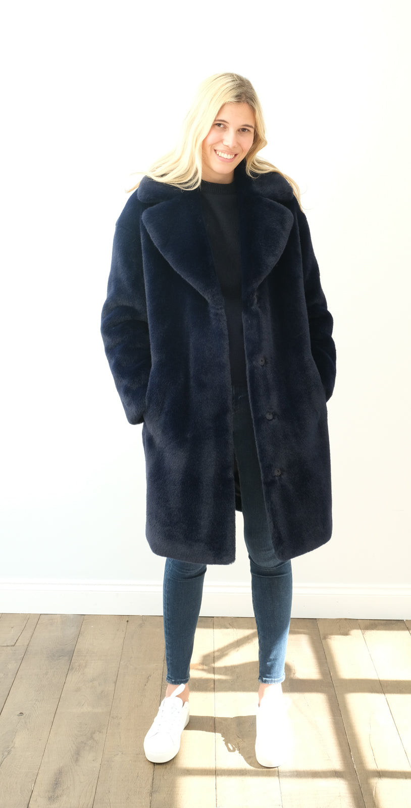 STAND Camille cocoon coat in navy