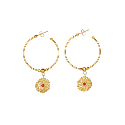 Flora hoop earrings in gold with red stone