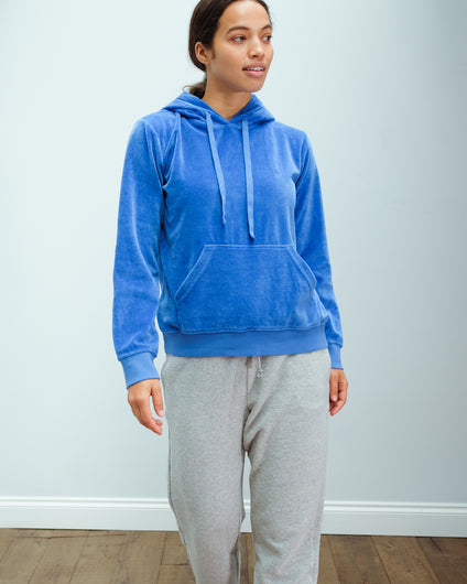 JU Overdyed Velvet Hoodie in Bright Blue