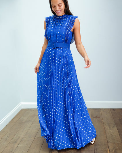 SP Polka Dot Chiffon Maxi Dress in Blue