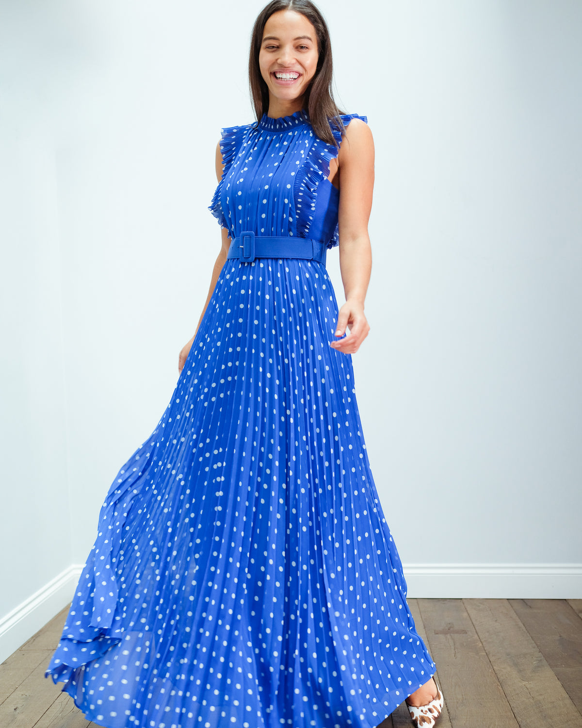 SP 132 Polka dot chiffon maxi dress in blue
