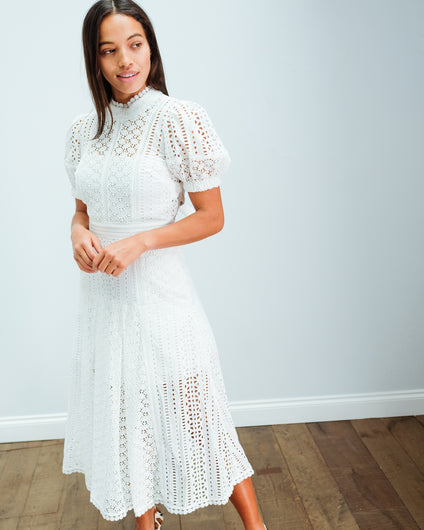 SP 011 Cotton broderie midi dress in white