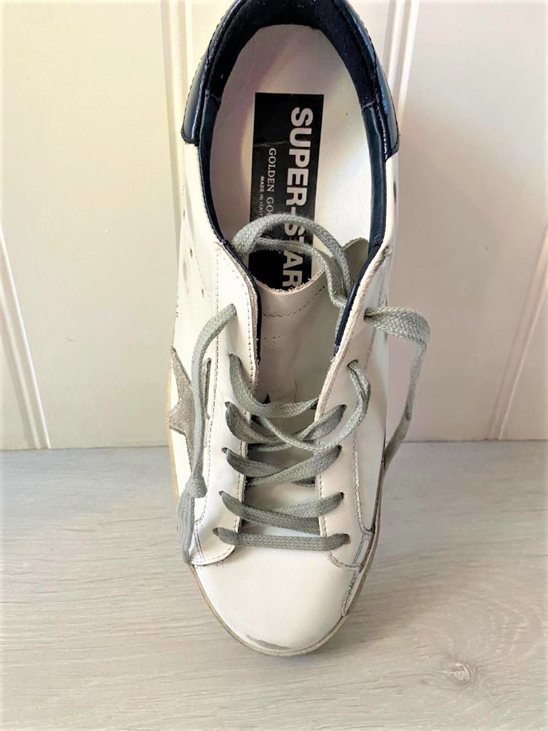 GG Superstar 102 in White with Ice Star and Blue Heel