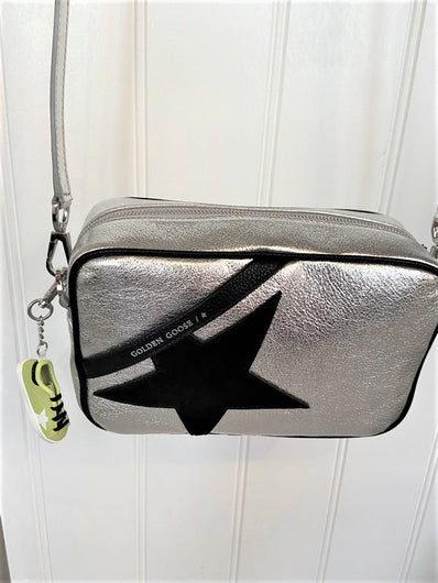 GG Star Bag in Silver Leather with Black Star
