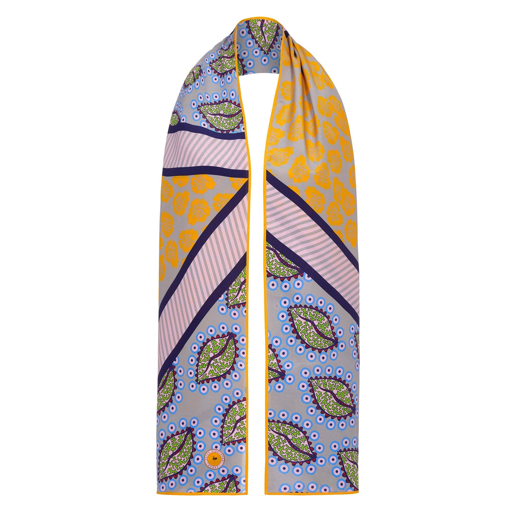 BS 042 Leaf print silk scarf in multi