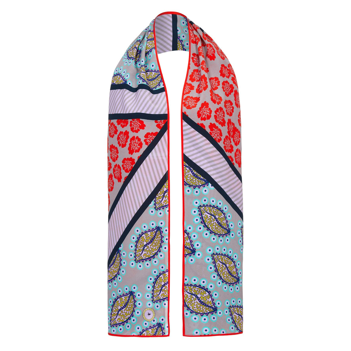 BS 043 Leaf print silk scarf in multi