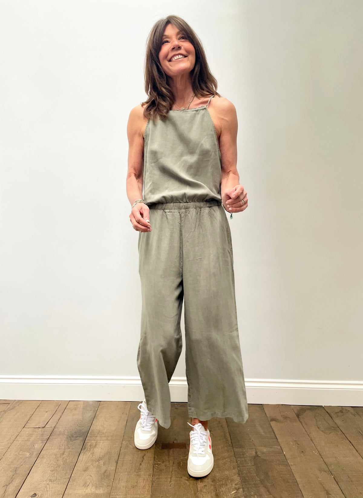 BD Fray Neck Wide Leg Jumpsuit 6416 in Soft Army