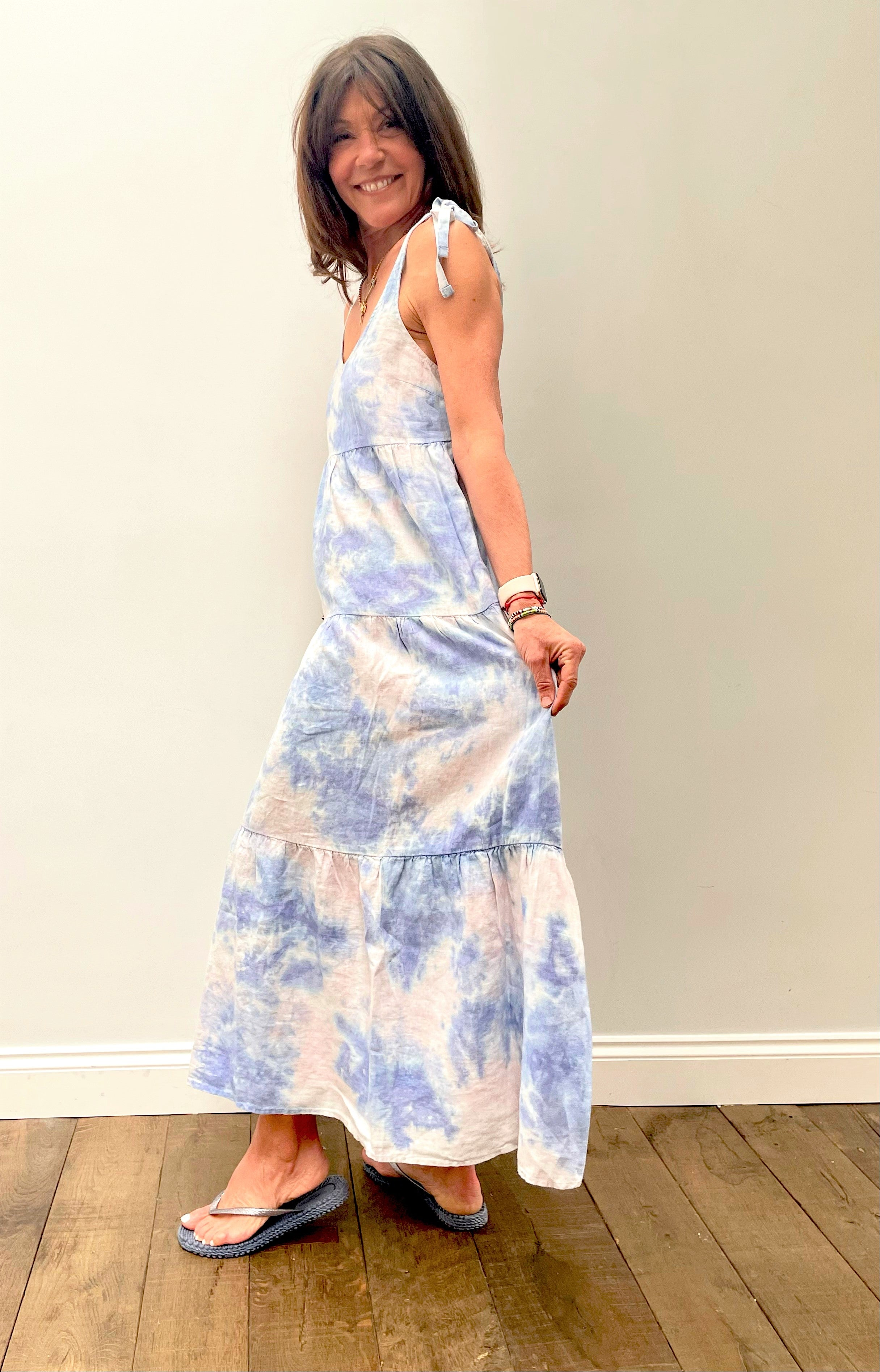 BD Tie Shoulder Maxi Tier Dress 6190  in Galaxy Tie Dye