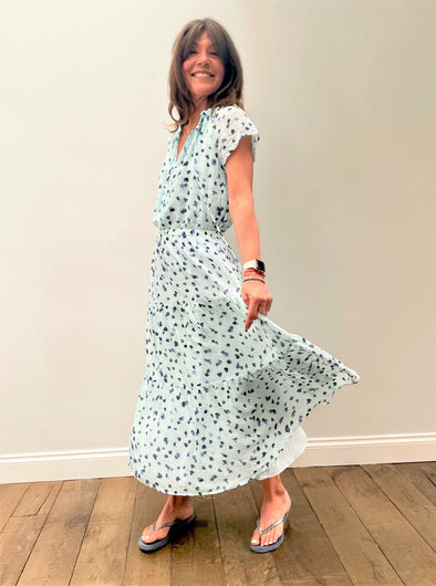 BD Flutter Raglan Maxi Tier Dress 6174 in Seaspray Dots
