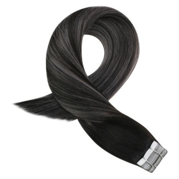 Tape in Human Hair Off Black #1B Fading to Gray Silver Highlighted with #1B(#1b/Silver/1b)