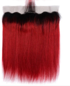 Red Ombre Straight Frontal System