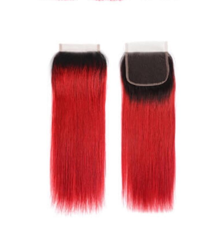 Red Ombre Straight Closure
