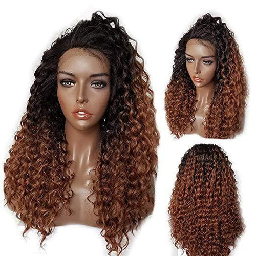 10a Grade Full Lace  #1B Ombre to Auburn Brown #30(Curly #T1B/30) - Belle Noir Beauty (product_title) (product_type)