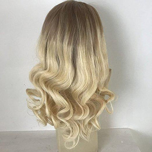Full Lace Wavy Ombre Colour  Dark Roots #6 Fading to Blonde #613 Brazilian Front Lace Wigs(#T6/613) - Belle Noir Beauty (product_title) (product_type)