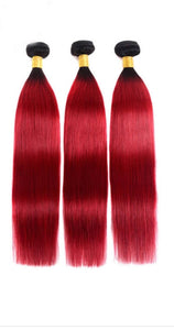 Red Ombre Straight Bundles