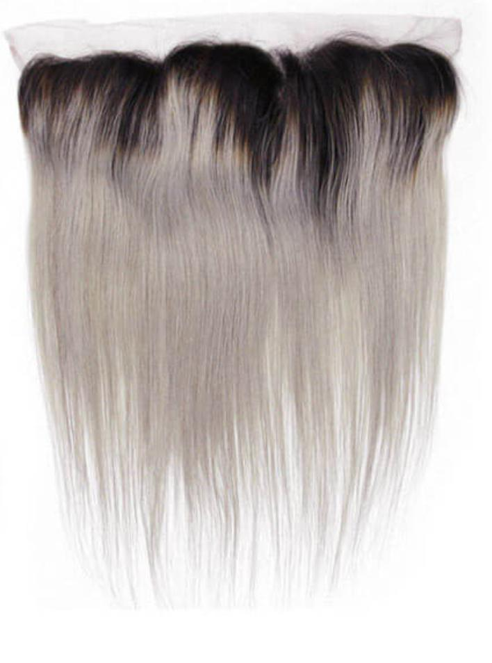Grey Ombré Straight Frontal System - Belle Noir Beauty